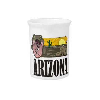 Snake State of Arizona USA: Rattlesnake and desert Drink Pitcher