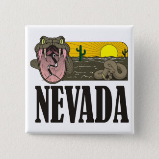 Snake State of Nevada USA: Rattlesnake and desert Pinback Button