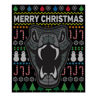 Snake Ugly Christmas Sweater Wildlife Series Poster