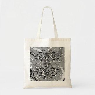 Snake & Vine Black White Abstract Tote Bag