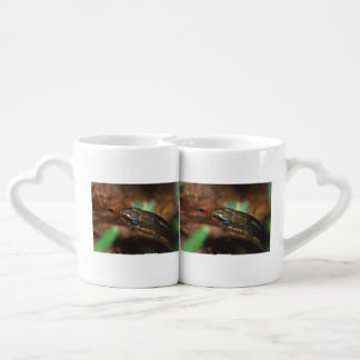 snake with tongue out couples coffee mug