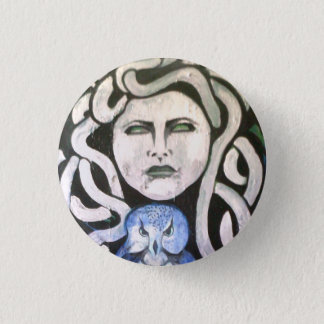 snake woman with owl. pinback button