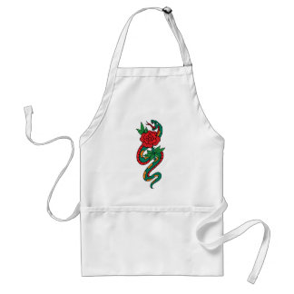 Snake Wrapped Around a Red Rose Tattoo Art Adult Apron