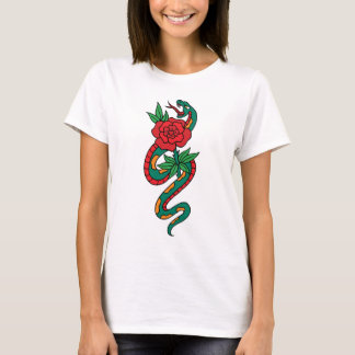 Snake Wrapped Around a Red Rose Tattoo Art T-Shirt