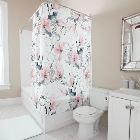 Snakes & Abstract Watercolor Pink Dogwood Flowers Shower Curtain