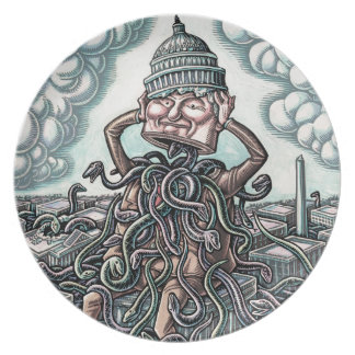 Snakes From Man Sitting on Capitol Dinner Plate