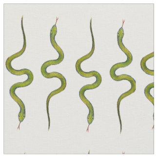 Snakes Hand-Drawn Green Slithering Scaly Snakes Fabric