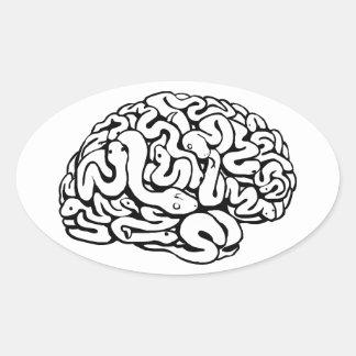 Snakes on a brain oval sticker