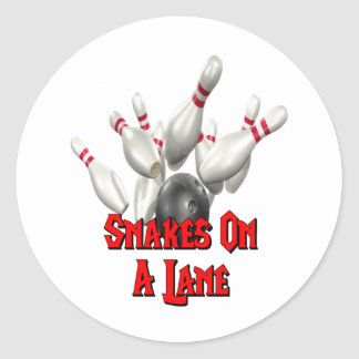 Snakes on a Lane Bowling Classic Round Sticker