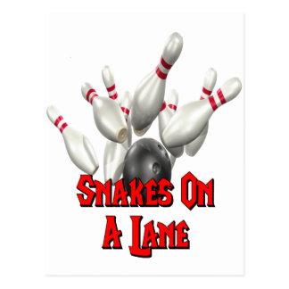Snakes on a Lane Bowling Postcard