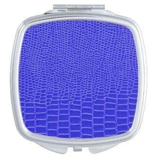 Snakeskin azul brillante espejo de viaje