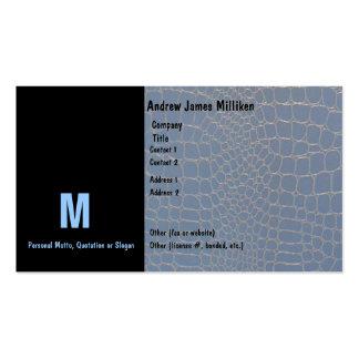 Snakeskin Blue Initial Monogram Business Card Templates