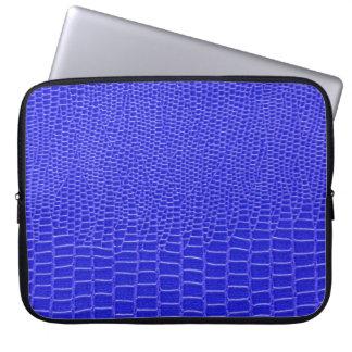 Snakeskin de cuero azul manga portátil