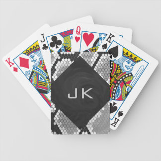 Snakeskin Gray, White, and Black Monogrammed Bicycle Playing Cards