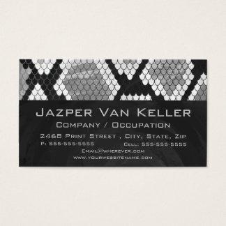 Snakeskin Gray, White, and Black Monogrammed Business Card
