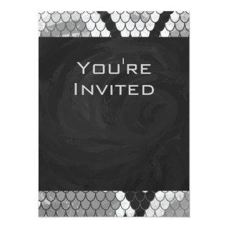 Snakeskin Gray, White, and Black Monogrammed 5.5x7.5 Paper Invitation Card