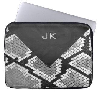 Snakeskin Gray, White, and Black Monogrammed Laptop Computer Sleeve