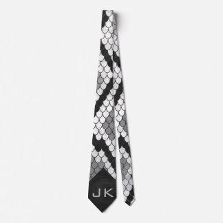 Snakeskin Gray, White, and Black Monogrammed Tie