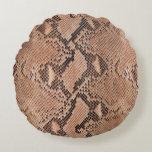 Snakeskin Pattern Cool Animal Print Round Pillow