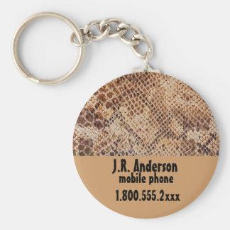 Snakeskin Print Luggage ID tags Basic Round Button Keychain