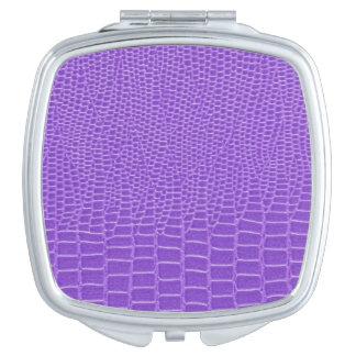 Snakeskin púrpura violeta espejos compactos