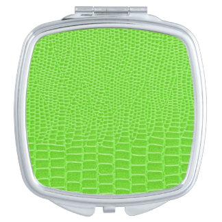Snakeskin verde ácido brillante espejo compacto