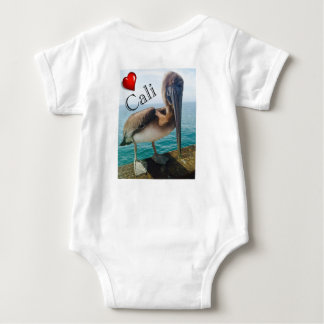 """Snap-bottom baby body T-shirt with pelican """"Cali"""""""