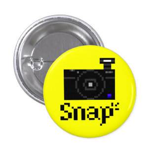 Snap! Compact Digital Camera Pixel Art 1 Inch Round Button