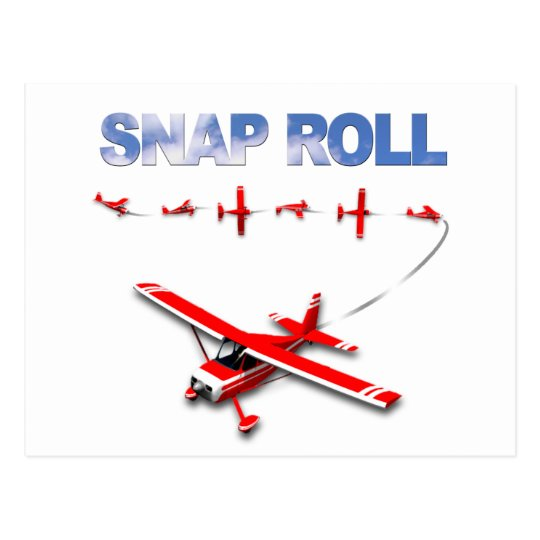 Snap Roll Aerobatic maneuver with Red Airplane Postcard
