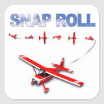 Snap Roll Aerobatic maneuver with Red Airplane Square Sticker
