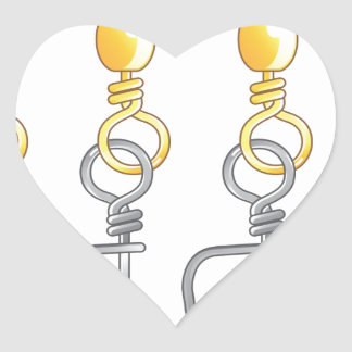 Snap swivels vector illustration fishing tackle heart sticker