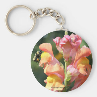 Snapdragon And Bee Flower Photo Keychain Keyring
