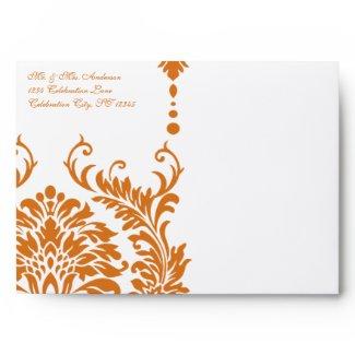 Snapdragon Coral Vintage Damask Envelopes envelope