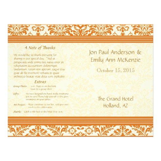 Snapdragon Coral Vintage Damask Wedding Program