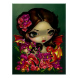 Snapdragon Fairy ART PRINT fantasy dragon flowers