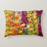 Snapdragons Colorful Floral Accent Pillow