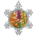 Snapdragons Colorful Floral Pewter Snowflake Ornament