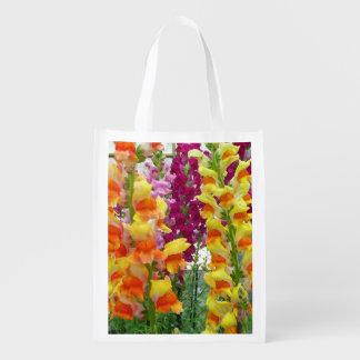 Snapdragons Colorful Floral Reusable Grocery Bag