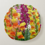Snapdragons Colorful Floral Round Pillow