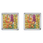 Snapdragons Colorful Floral Silver Cufflinks