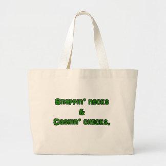snapin necks and cashin checks large tote bag