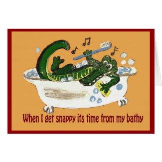 Snappy Crocodile taking a Bath Card