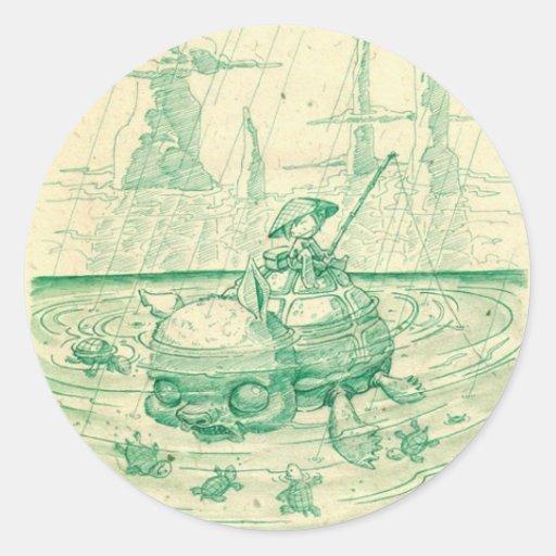 Snappy Fishing Round Sticker