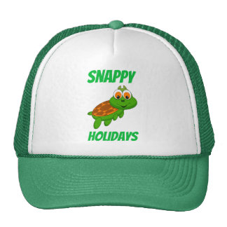 Snappy Holidays Cute Cartoon Turtle Christmas Mesh Hats