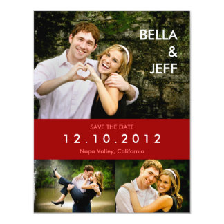 """Snapshots Wedding in Red Save the Date Card 4.25"""" X 5.5"""" Invitation Card"""