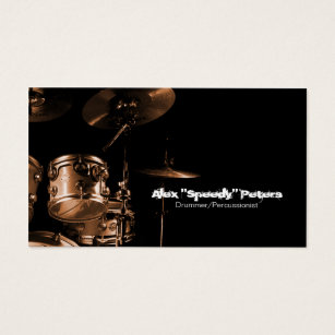 Drummer business cards templates zazzle snare and tom brown drummer business card colourmoves Image collections