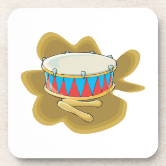 Snare drum and mallets percussion graphic coasters