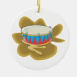 Snare drum and mallets percussion graphic christmas tree ornaments