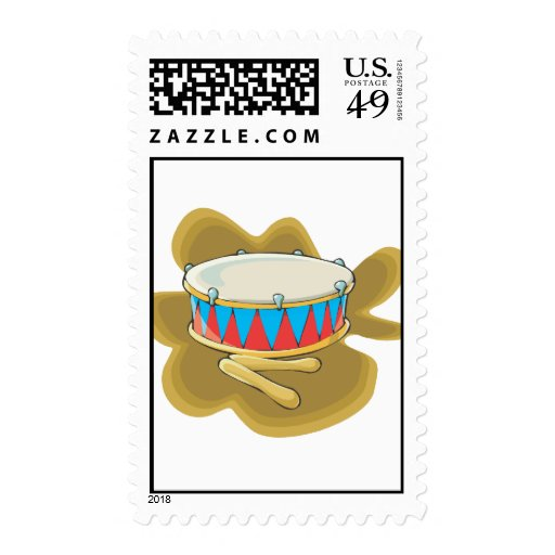 Snare drum and mallets percussion graphic postage stamps