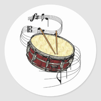 Snare Drum Classic Round Sticker